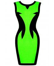 LOVARNI Contrast Panel Mini Dress Lime- £34.99
