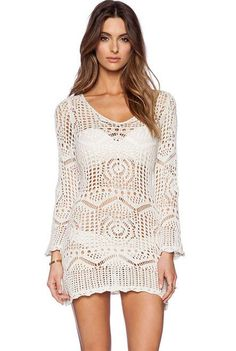 Stand out! This crochet long sleeve cover up features comfortable fabric, but yet chic design. Easily go from pool to diningin minutes.
