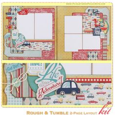 Rough & Tumble 2-Page Layout Kit, complete with instructions, by PaisleysandPolkaDots.com for a limited time featured at www.scrapclubs.com