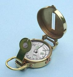 1b98e306f8c6 Engravable Polished Brass Military Lensatic Compass