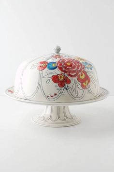 Floral Painted Domed Cake Stand #Cute #Gift