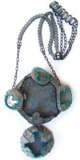 Dana Hakim - Neckpiece 02 - Iron Nets, Paint, Reflective Light -Threads, Cotton Threads, Mirrored  Plastic, Lacquer; Mixed Media