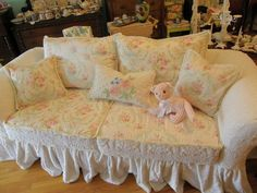 custom shabby sofa chic chenille bedspread slipcover white pink roses couch cottage prairie. $2,200.00, via Etsy.