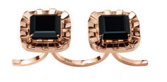Desire Flat Double Ring in 18K Rose Gold and Black Quartz