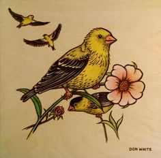 Goldfinches  - 10 x 10 inch plywood. (Colored with Prismacolor & oil pencils.) (sold)