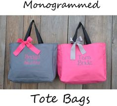 6 Personalized Bridesmaids Gifts Tote Bags Personalize Tote, Bridesmaids Gift, Monogrammed Tote, Gifts and Mementos, Bridemaids Gifts Monogram Tote Bags, Personalized Tote Bags, Personalized Bridesmaid Gifts, Gifts For Wedding Party, Party Gifts, Wedding Ideas, Wedding Rustic, Wedding Poses, Trendy Wedding
