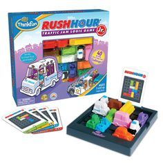 Just like the classic Rush Hour® game, you shift blocking cars and trucks out of your way to clear a path to the exit. The 40 leveled brainteaser challenges are a fun way to build problem-solving skills. Rush Hour Jr. is ideal for younger ages but still plenty of fun for an adult brain! Ages:  5 and up Find this game at www.crystalteaches.com