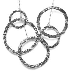 5 in 1 Necklace    5 in 1 circle necklace made in hammered sterling silver with ball chain      $445