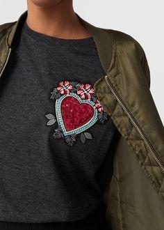 T-shirt broderies sequins | MANGO