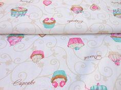 Tkanina dekoracyjna babeczki patchwork bawełna - mniam.... 29 zł za 1 metr
