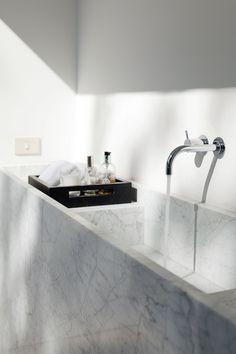 | P | Carara Marble sink w/ wall mounted taps