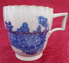 Rare Antique Caughley Porcelain Blue & White Ogee Coffee Can Chinoiserie 1785