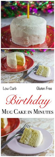 This low carb and gluten free birthday mug cake bakes in only 2 minutes using the microwave. It's a healthy sugar free way to celebrate any special occasion!