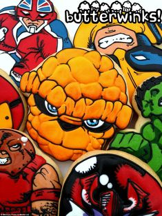 Cartoon character The Thing's segmented head and blue eyes show off the artist cum baker's talent at its best