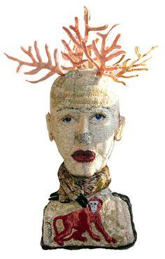 kiosk der demokratie - kiosk of democracy: FADENFRAUEN * WOMEN THREAD - MONICA BOHLMANN / GERMANY Sculpture Textile, Textile Fiber Art, Textile Artists, Soft Sculpture, Clay Sculptures, Textiles, Marionette, Contemporary Embroidery, Art Du Fil