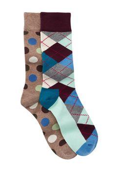 Image of Happy Socks Non Terry Crew Socks - Pack of 2
