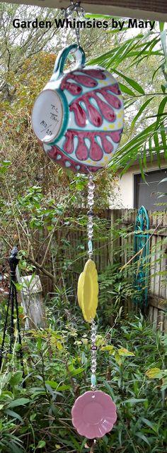 garden recycled treasures | Sun Catcher Garden Dangle Italian Ceramic by GardenWhimsiesByMary