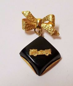 Vintage Lucite Gold Tone Fire Truck Brooch Pin Fireman Jewelry Bow Tie Tack