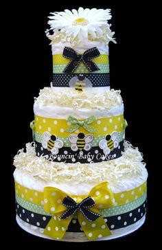 Bumble Bee Diaper Cake, Baby Shower Gift. $69.99, via Etsy.