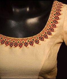 Sophisticated silk sarees blouse design Discover more about Pattu Saree Blouse Designs, Fancy Blouse Designs, Bridal Blouse Designs, Blouse Neck Designs, Blouse Patterns, Blouse Styles, Maggam Work Designs, Stylish Blouse Design, Hand Embroidery