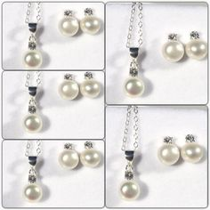 Set of 5 Bridesmaids Gifts Pearl Necklace and by CharmsByCynda