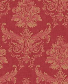 Langley (75563) - Albany Wallpapers - Langley is a bold, striking damask textured wallpaper. This colourway features a Gold damask on a striking red textured background with a horizontal shiny mica slub - more colours are available. Please request a sample for true colour match.