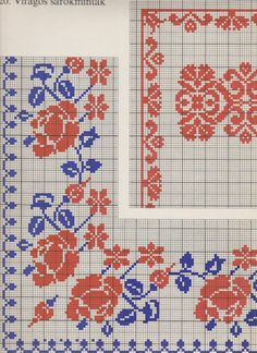 Flower corner cross stitch, border, frame, blue and red
