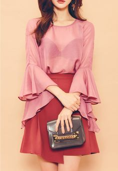 Wide Ruffled Cuffs Blouse | Korean Fashion #CHUU