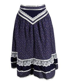 Gunne Sax Navy Calico Prairie Skirt by plaidponyvintage, via Flickr