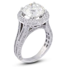 8.04 CT Excellent Cut Round H-VS1 GIA Certified Diamond 18k Gold Split Shank Engagement Ring 9.04gr by Diamond Traces