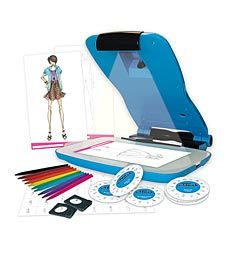 Use the Project Runway portable projector to project 125+ clothing and accessory shapes onto a sketch pad, then trace and color, and feel like a real fashion designer.