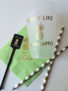 Party Like a Pineapple Plastic Cup set of 50 on Etsy, $65.00