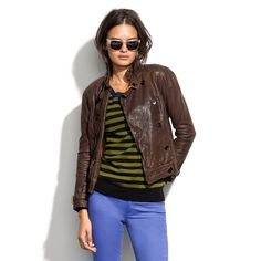 Madewell Belted Leather Bomber in Brown (chocolate raisin)