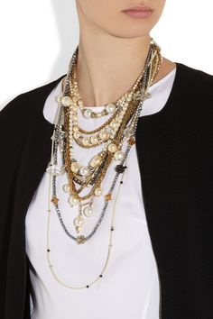 Erickson Beamon Girlie Queen gold-plated, Swarovski crystal and faux pearl necklace  NET-A-PORTER.COM