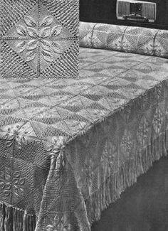Sunflower Motif Vintage Knitting Pattern for download