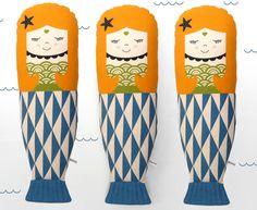 Items similar to Scandinavian little mermaid Retro cushion geo sea yellow blue green waves sea star on Etsy Cute Mermaid, Mermaid Dolls, The Little Mermaid, Best Gifts For Girls, Diy For Girls, Mermaid Drawings, Mermaid Pillow, Star Wars, Kits For Kids