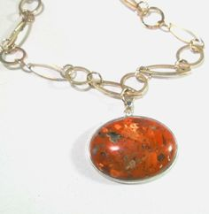 Red Jasper Pendant Silver Plated Chain Handmade Necklace, 1261 #Handmade #Pendant #Red Jasper $19.94