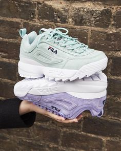 Baskets Fila Premium Disruptor : on les choisit en vert menthe ou en violet/lilas ? #fila #baskets #sneakers