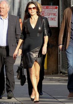 Dressed in black: Catherine Zeta-Jones was spotted on her arrival to El Capitan Theatre in Hollywood, California for her interview on Jimmy Kimmel Live in a black dress