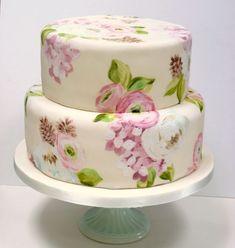 painted wedding cake by natasha collins of nevie-pie cakes