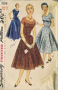 VINTAGE ONE PC DRESS 50s SEWING PATTERN 1134 SIMPLICITY SZ 12 BUST 30 HIP 33 CUT | eBay