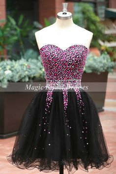 Fuchsia-Black Short Prom Dress Shining Beading Sequins Cocktail Dress Sweetheart off the shoulder Mini Organza Homecoming Dress Lace up