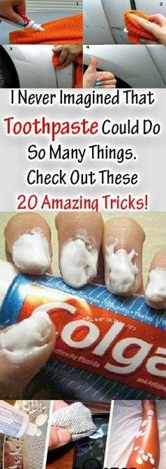I Never Imagined That Toothpaste Could Do So Many Things. Check Out These 20 Amazing Tricks!Besides its main purpose to clean your teeth, your regular toothpaste can help you do all sorts of things. Here are 20 unusual uses of toothpaste that. Cleaning Solutions, Cleaning Hacks, Cleaning Products, Everyday Activities, Simple Life Hacks, Tips Belleza, Things To Know, Clean House, Home Remedies