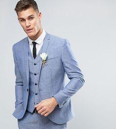 Noak Slim Wedding Suit Jacket In Linen Nepp - Blue