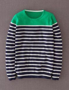 Boden Cashmere Crew Neck Sweater Navy/Bright Green/Ivory