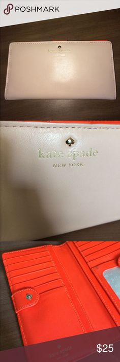 Kate spade wallet Kate spade wallet. Has some wear. Outside is in great condition. Pockets inside wallet are a little stained due to use with money and change. kate spade Bags Wallets