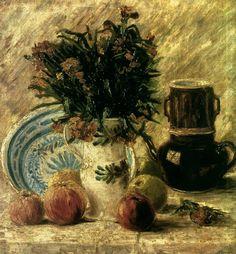 Vincent van Gogh - (Dutch, Post-Impressionism, 1853-1890)  Vase with Flowers, Coffeepot and Fruit, 1887        Von der Heydt Museum, Wuppertal, Germany