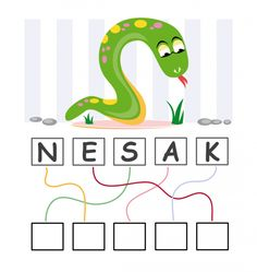 A picture of a snake sits right above a set of blocks with the scrambled word Snake below this are blank boxes English Games For Kids, Funny Games For Kids, English Worksheets For Kids, English Activities, Toddler Activities, Nursery Worksheets, 1st Grade Worksheets, First Grade Homework, School Cartoon