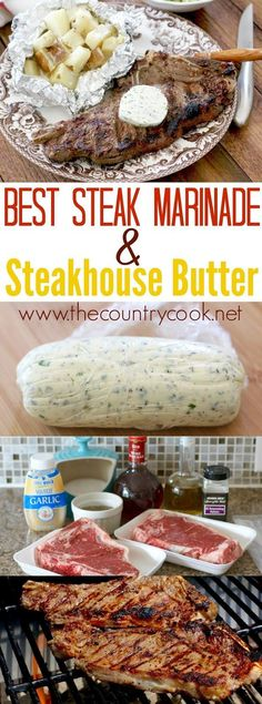 Best Steak Marinade and Steakhouse Butter recipes from The Country Cook and how to make the perfect steakhouse grilled steak with Kingsford Professional Briquet. Perfect for Father's Day! Plus a recipe for potato packets! A whole meal! #KingsfordProfessional #ad