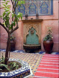 Moroccan Riads Courtyards are filled with an array of colors, textures, and the courtyard is considered the heart of the home - take a look at these magnificent Moroccan Riad Courtyards that will have you packing your bags in no time! Moroccan Design, Moroccan Decor, Moroccan Style, Moroccan Bedroom, Moroccan Lanterns, Moroccan Colors, Morrocan Bathroom, Moroccan Kitchen, Exterior Design